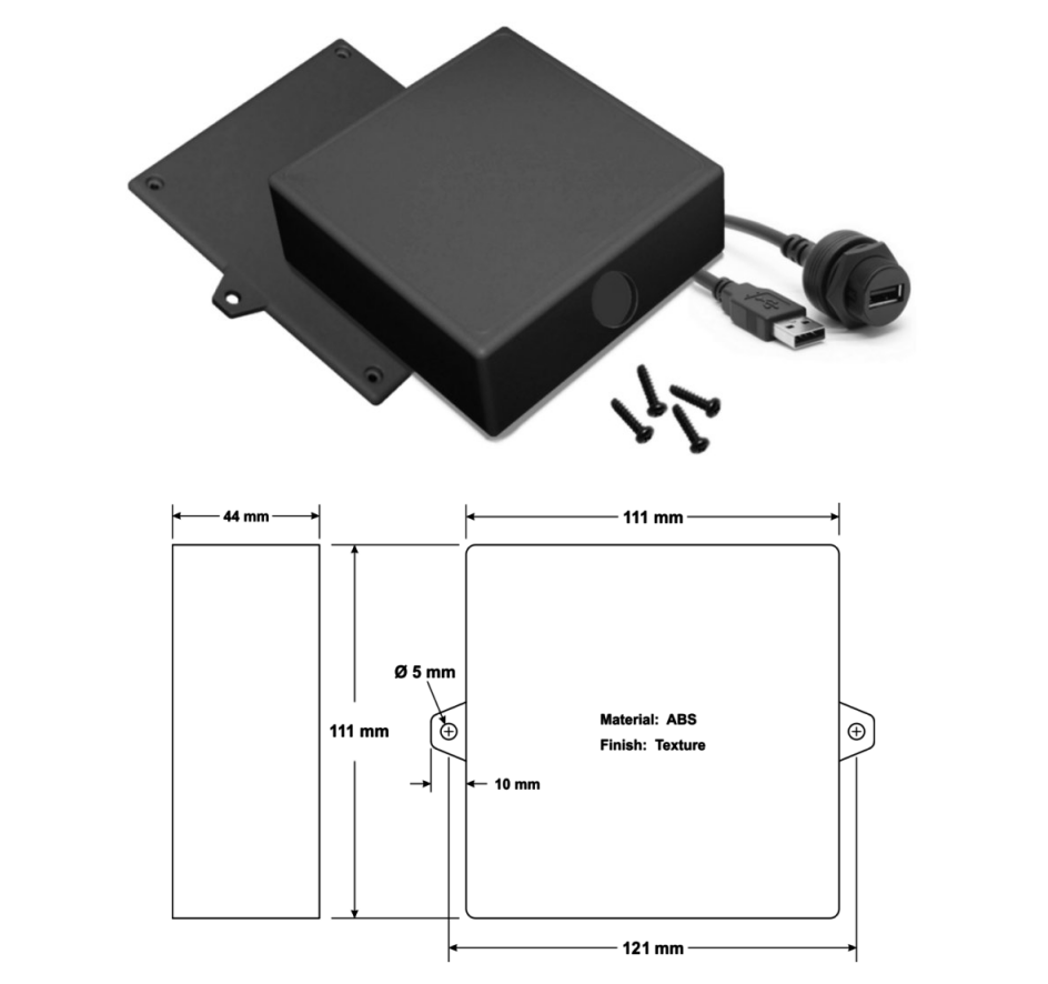 Wall Mount USB Adapter Enclosure with 5 metre cable